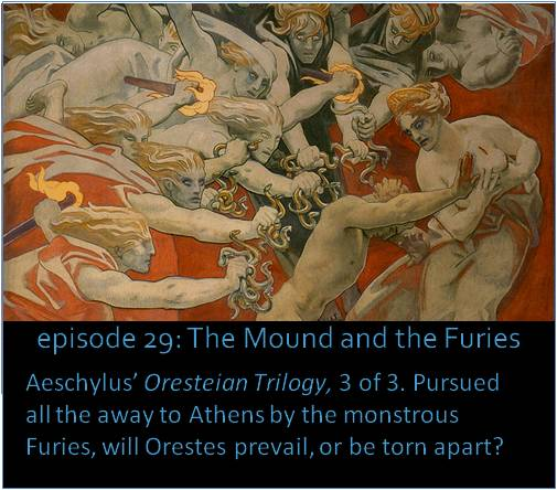 Aeschylus' Oresteian Trilogy, 3 of 3. Pursued all the away to Athens by the monstrous Furies, will Orestes prevail, or be torn apart? The picture shows a detail from John Singer Sargent's 1921 painting Orestes Pursued by the Furies.