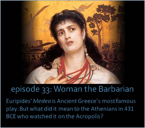 Euripides' Medea is Ancient Greece's most famous play. But what did it mean to the Athenians in 431 BCE who watched it on the Acropolis? The picture shows a painting of Medea by the English Pre-Raphaelite artist Frederick Sandys, done in 1858.