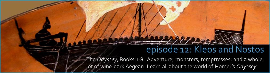 The Odyssey, Part 1 of 3.  Adventure, monsters, temptresses, and a whole lot of wine-dark Aegean. Learn all about the world of Homer's Odyssey. The picture shows Ancient Greek pottery featuring an oceangoing vessel.